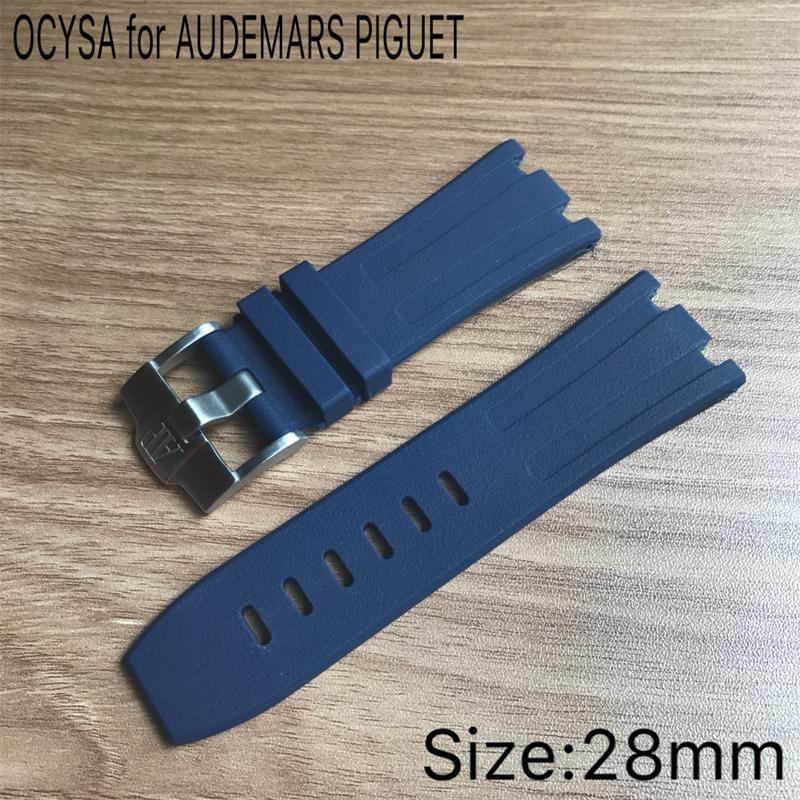 Luxury watch 28mm camouflage Rubber strap Silicone Waterproof Strap with stainless steel pin buckle fit