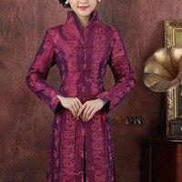 Haute Qualité Chaude Rose Chinois Satin de Femmes Outwear D'âge Moyen Mère Bouton Manteau Applique Fleur Veste Taille S À XXXL NJ145