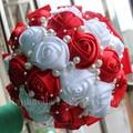 Перл Свадебный Букет Красный Жемчуг Свадебный Белая Роза с Цветами в Руках Невесты Лента Поддельные Бросок Стежка Букет Свадебный Декор