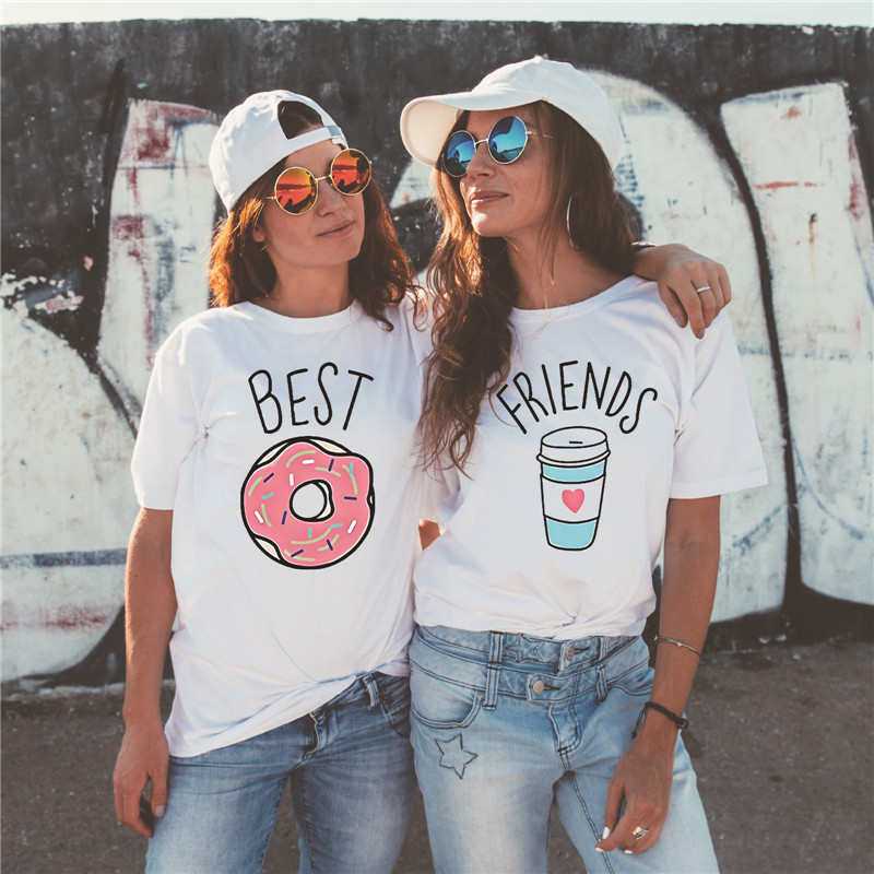 Showtly Fashion women Best friends t-shirt Cartoon Coffee Doughnut Letter print female T-shirt Friends Gift tshirt Hot sale Top image