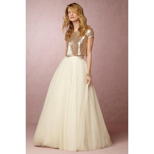 Gold Sequin Bridesmaid Dresses 2016 Short Sleeves Ivory Two Piece Party Vestidos