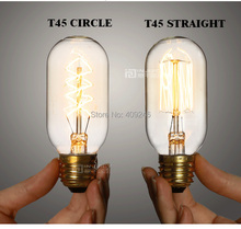 T45 Circle Marconi Smoked Light Bulb Lamp Vintage Edison Reproduction 40 Watt 60 Watt  E27 AC110v 220V Coffee Shop Decor