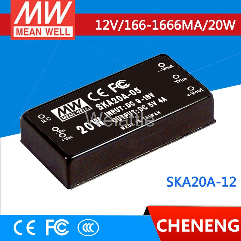 цена на MEAN WELL original SKA20A-12 12V 1666mA meanwell SKA20 12V 20W DC-DC Regulated Single Output Converter