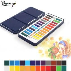 Bianyo 24 cores caixa de lata portátil sólido aquarela tintas conjunto para artista escola estudante desenho pintura artigos de papelaria arte suprimentos