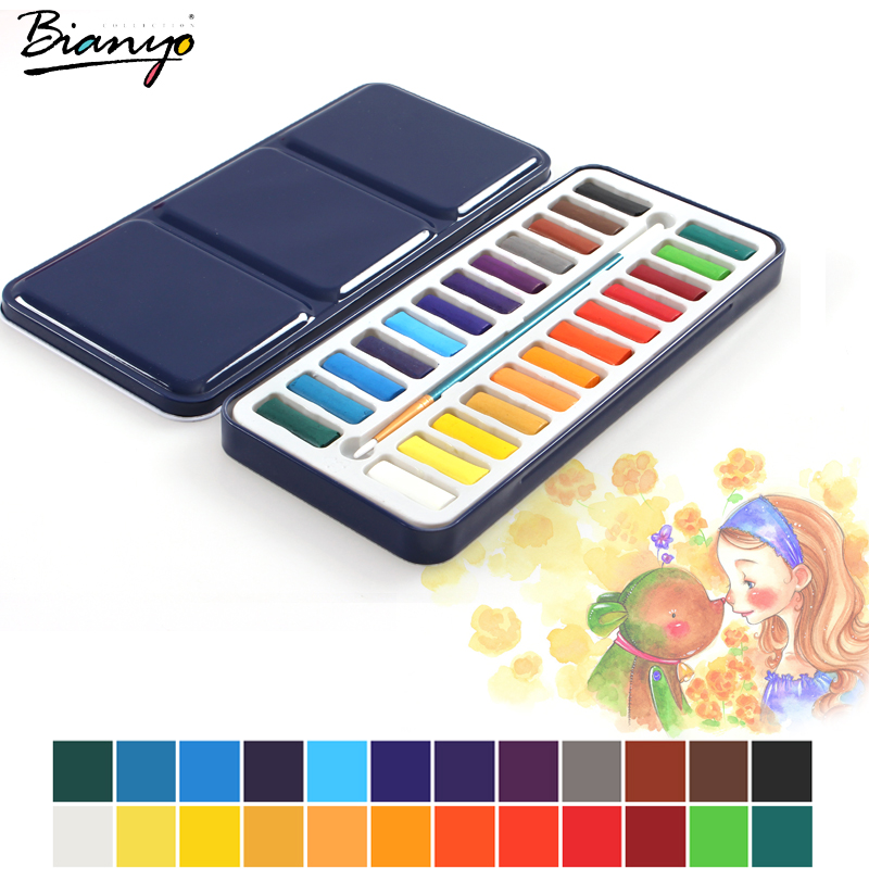 Us 7 86 15 Off Bianyo 24colors Portable Tin Box Solid Watercolor Paints Set For Artist School Student Drawing Painting Stationery Art Supplies In