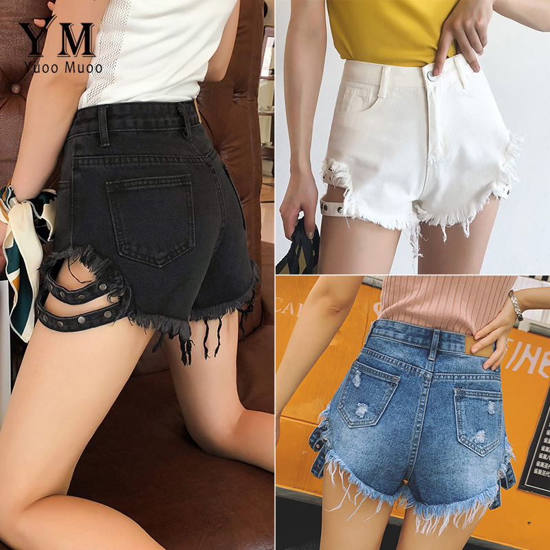 YuooMuoo Design High Waist Summer Denim Shorts 2019 Women Europe Style Hot Ripped Shorts Hot Fashion Fringe Black Jeans Shorts