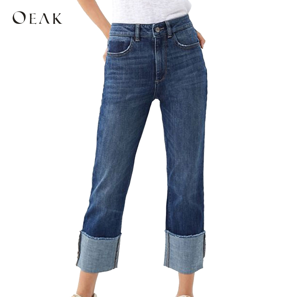 OEAK 2019 Summer Women's   Wide     Leg     Pants   High Waist   Pants   Crimping Straight Jeans Loose Crop/Capri Jeans Roll Cuff Trousers