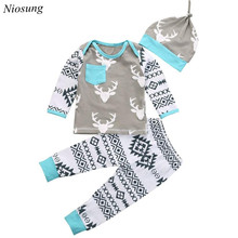 NIosung Kid Baby Girls Boy Clothes Christmas Deer Romper+Pant Hat Outfit Set Children clothes girls christmas Party outfit