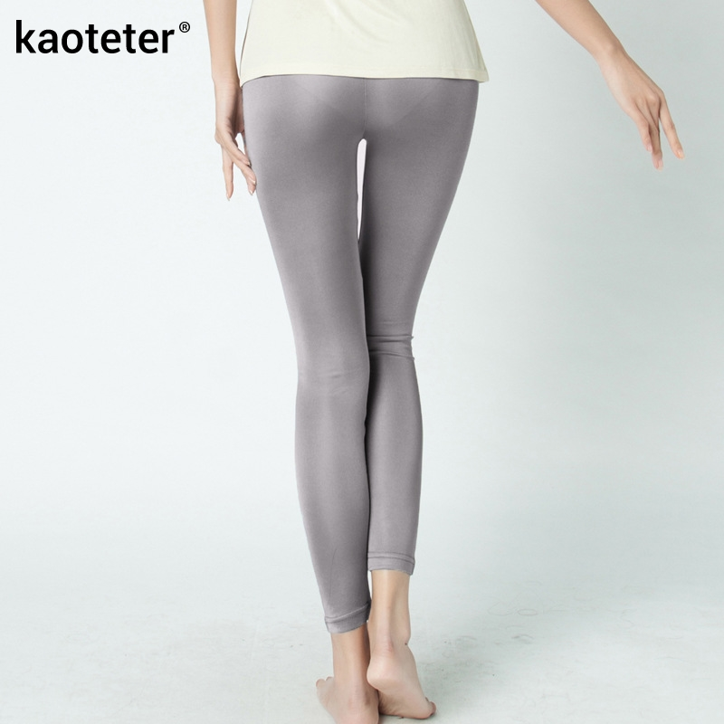 100% Pure Silk Women's Pencil Pants Kvinner Avslappet Capris Pantalon Femme Pantalones Woman Mujer Candy Farge Kvinne Bottoming Pants