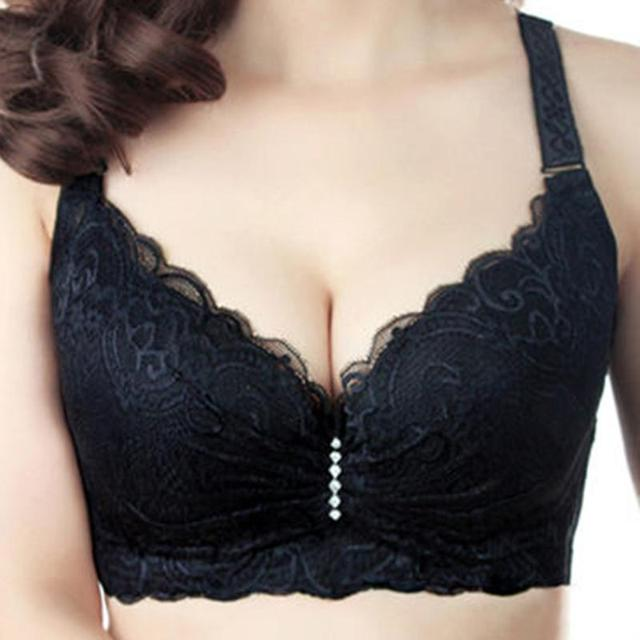 Hot 2016 New Sexy Lace Push Up Bra For Woman  Big Size 3/4 Cup Black Bralette Deep V Bras Underwear Large Cup C D Plus Size