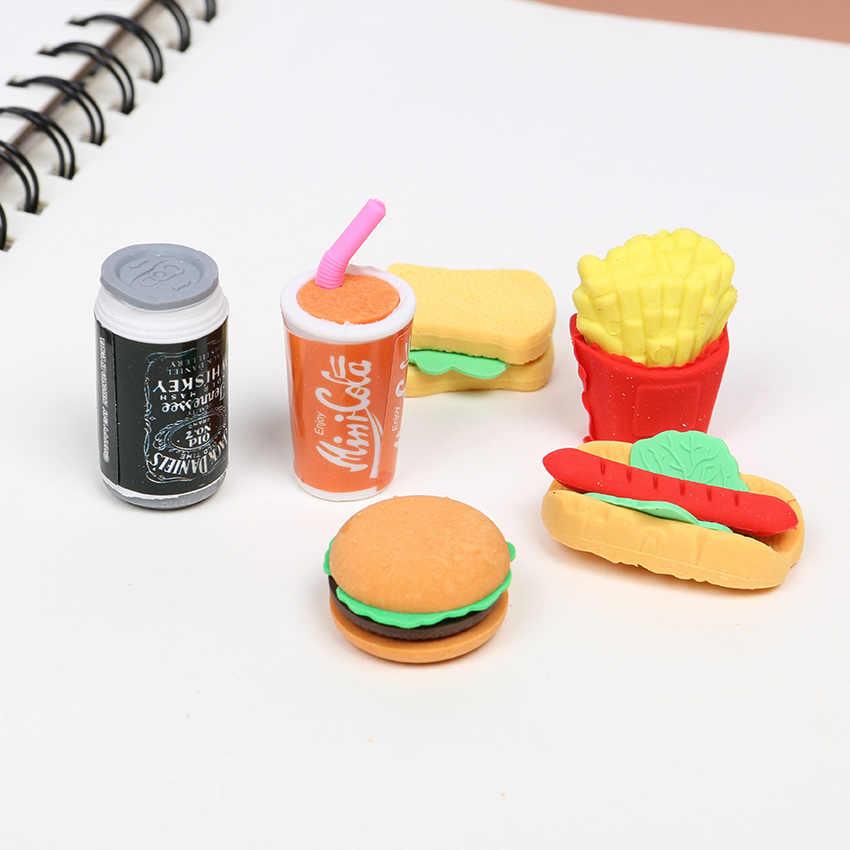 6 unids/set Cute Kawaii borrador hamburguesa comida patatas fritas Hot Dog borrador Oficina corrección suministros