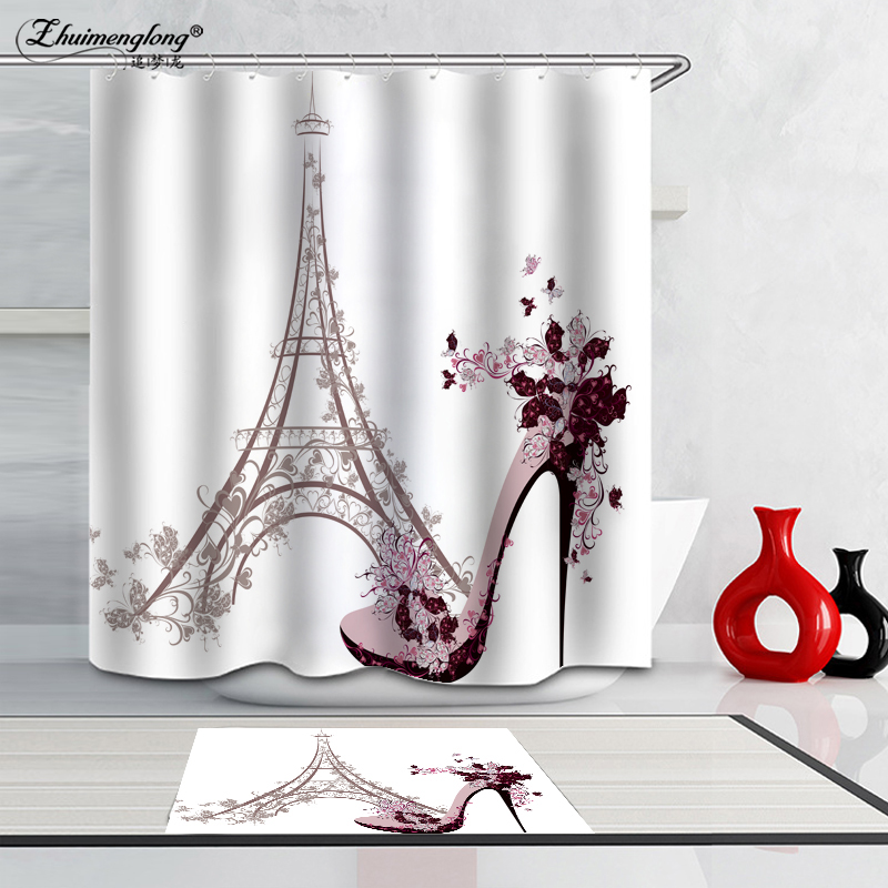 Zhuimenglong Bathroom Curtains Waterproof Polyester Fabric European Style  3D Iron Tower Shower Curtains Shade Curtains ZL152