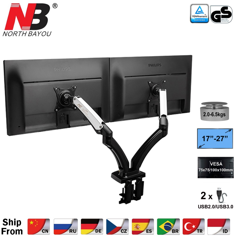 "2017 New NB F180 Gas Spring Full Motion 17"" 27"" Dual Screen Monitor Holder Desktop Clamping/ Grommet TV Mount With Two USB Ports-in TV Mount from Consumer Electronics"