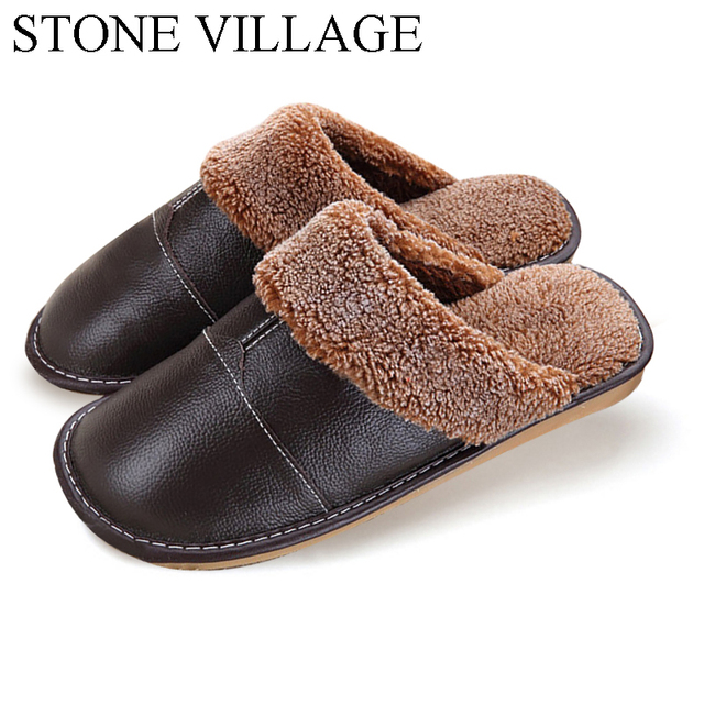 eb0c2d904 Plus Size 35-44 Genuine Leather Warm Winter Home Slippers Non-Slip Thick  Warm