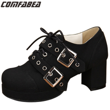 Plus size 34-44 2016 Spring And Autumn Thick High Heeled Pumps Female Platform Shoes Punk Lolita Lady Shoes Square Heeled L0306