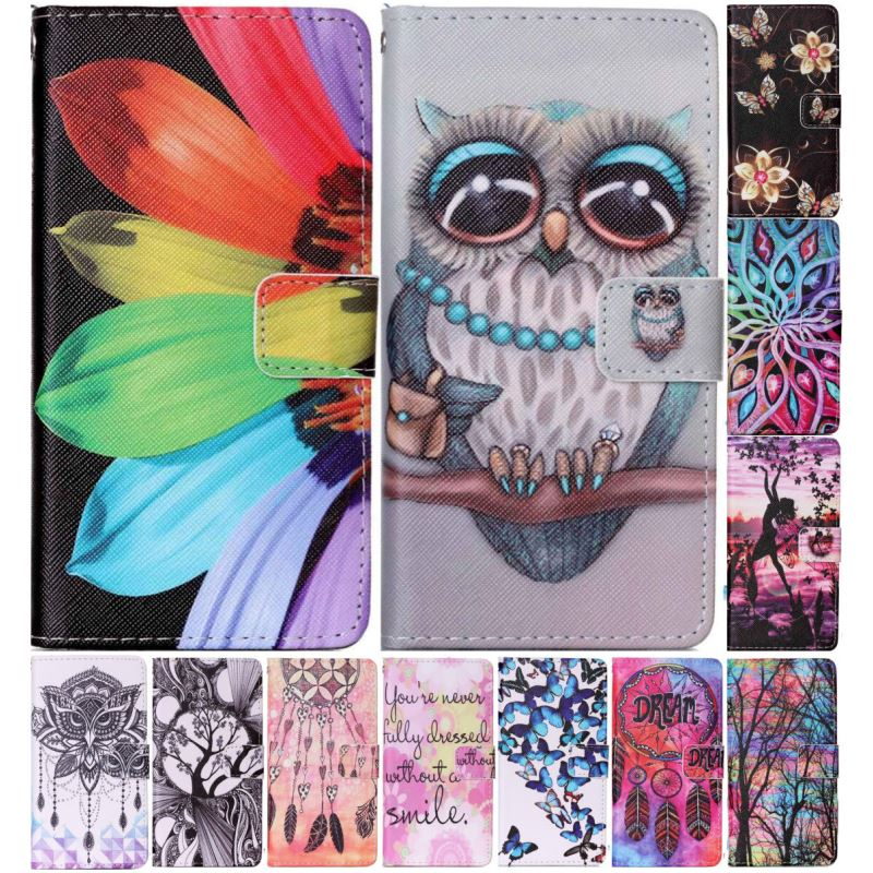 Luxury Case For Sony Xperia E5 XA Z5 Mini M4 Aqua Leather Phone Case Pattern Flower Butterfly Owl Cover Flip Wallet Coque P03Z in Flip Cases from Cellphones Telecommunications