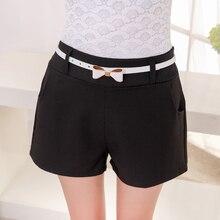 Nuevas Mujeres de Cintura Alta Cortos Cinturón Solid Casual Mujeres Shorts de Algodón Blend Pocket Corto Feminino Pantalones Cortos Mujer