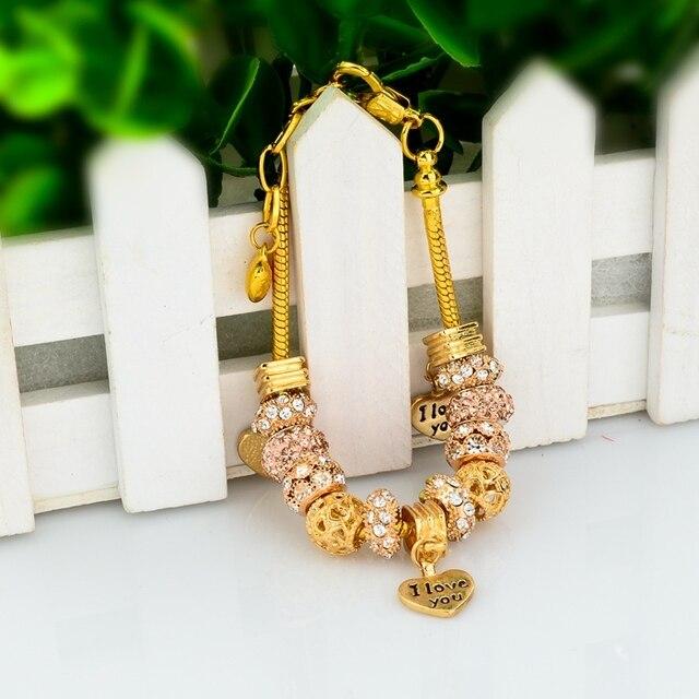 Attractto новые роскошные бусины золотая змеиная цепочка очаровательные