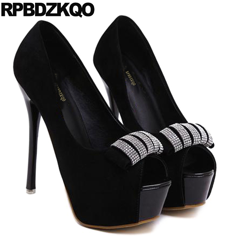 d198a873295d Suede Fish Mouth Platform Women Peep Toe Scarpin Summer Ultra Black Super  High Heels Extreme Size 4 34 Shoes Rhinestone 12cm 5-in Women s Pumps from  Shoes ...