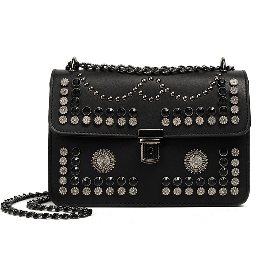 2017 Messenger Bags Women Flap Chains Bag Ladies Fashion Rivet Soild Black Shoulder Bags Girls Brand Designer Crossbody Bolsa genuine leather women messenger bags rivet small flap shoulder bag crossbody bags designer brand ladies female clutch hand bags