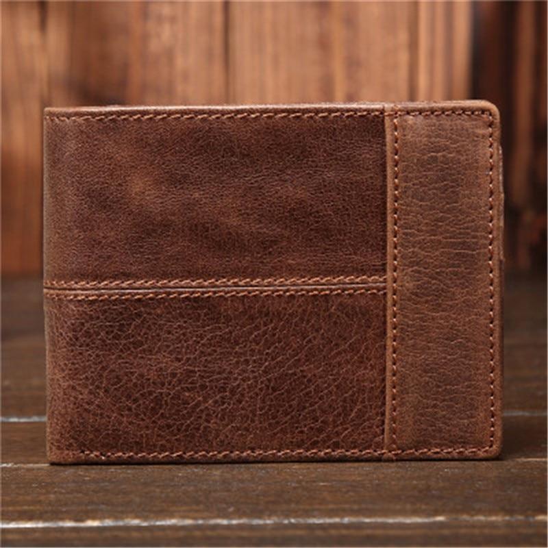 YISHEN Vintage valódi bőr férfi pénztárca alkalmi férfi rövid pénztárca kártya tartó pénztárca Bifold többfunkciós férfi pénztárca 8064