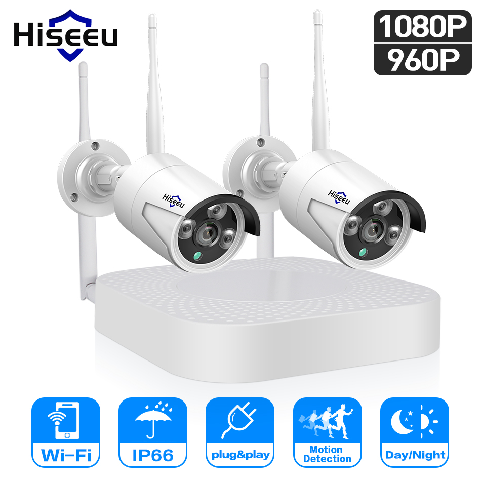 Hiseeu 1080P/960P wireless CCTV System 2pcs 2.0/1.3 MP Outdoor IP Camera 4CH NVR Security Camera video Surveillance System
