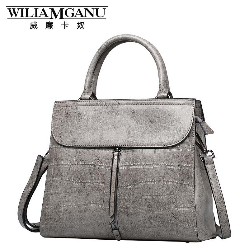 ФОТО WILIAMGANU Brand 2017 New Female Crocodile Grain Genuine Leather Handbag Briefcase Europe and United fashion Single Shoulder bag