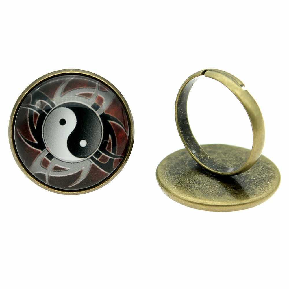 調節可能なリング太一陰と陽 20 ミリメートルラウンドガラスカボション手作り女性 2 色ヴィンテージジュエリー