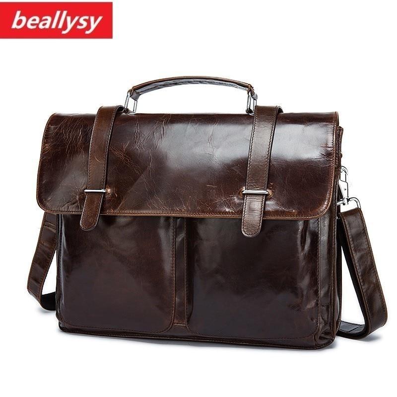 crazy horse Genuine leather men briefcare brand high quality men's business handbags vintage real leather soft men laptop bag