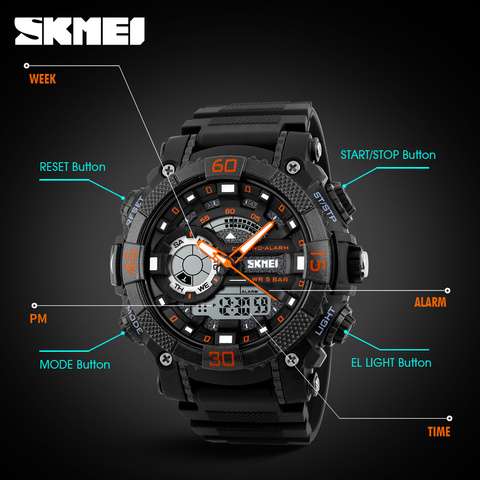Mens Watches Top Brand Luxury Military Watches LED Digital analog Quartz Watch Men Sports Watches Waterproof Relogio Masculino Multan