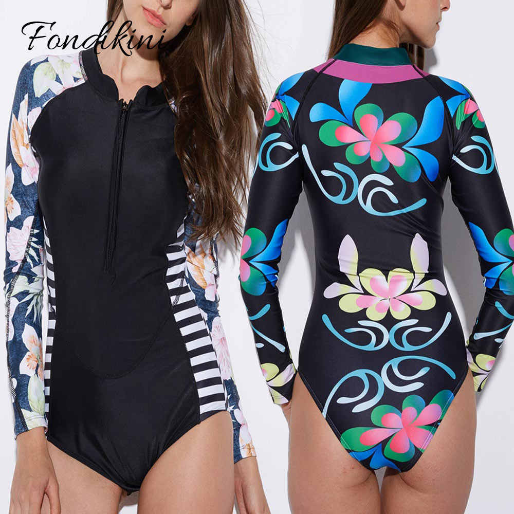 ab1a182a765 2018 Long Sleeve Swimsuit Sexy One Piece Swimwear Print Floral Surfing  Women Bodysuit Retro Beachwear Monokini
