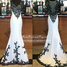Real Sample Sequin Long Prom Dresses 2017 V neck Sheer See Through Back Black Beaded Appliques