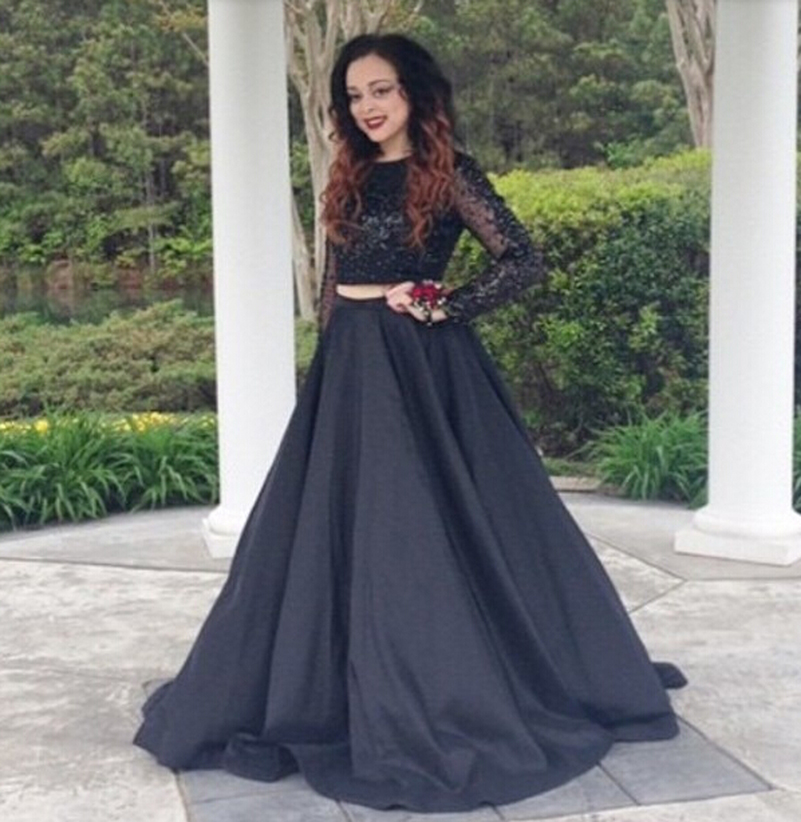2015 Long Sleeve Crop Top Prom Dresses Black Two Piece Sequin Bead ...