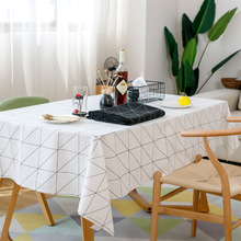 Modern Square Plaid Black And White Waterproof Table Clothes Cloth Cotton Linen Coffee Table Tablecloth Tablecloths Table-cloth