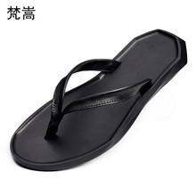 цена на summer flip-flops mens British fashion beach casual shoes fender summer men genuine leather slippers mens slide sandals