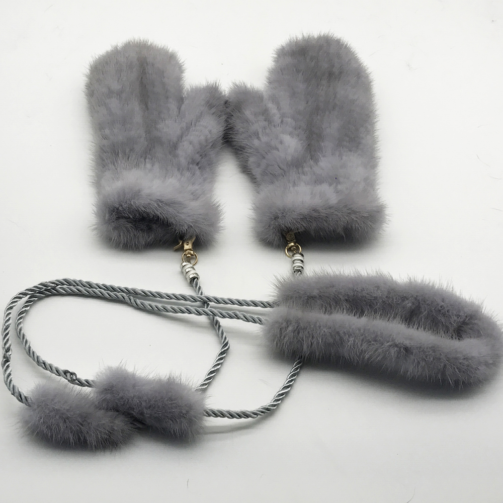 DIY Luxury Winter Fur Gloves For Women Knitted Natural Mink Fur Glove Fashion Russia Mink Fur Mittens Warm Female Gift For Wife