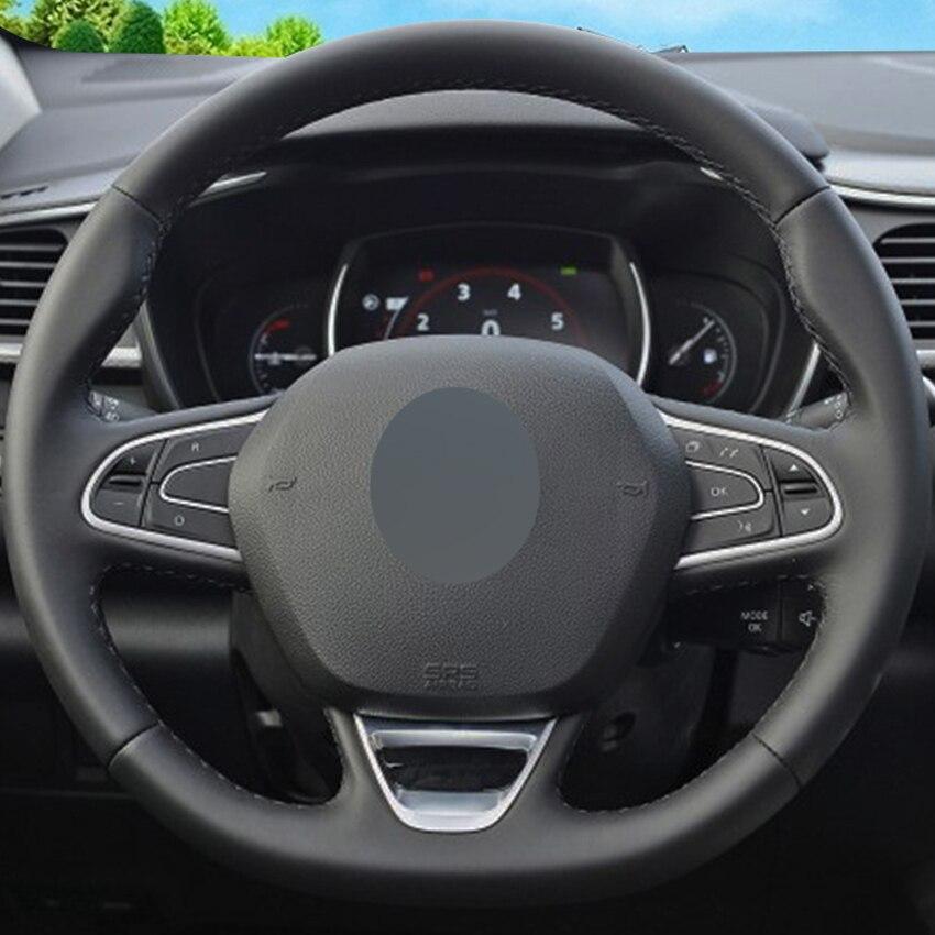 Black Leather Hand-stitched Car Steering Wheel Cover for Renault Kadjar Koleos Megane Talisman Scenic 2016 2017