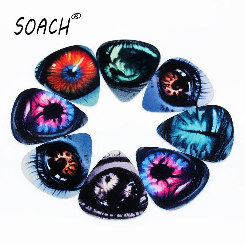 SOACH 10pcs 0.71mm Eyes High Quality Two Side Earrings Pick DIY Design Guitar Accessories Pick Guitar Picks