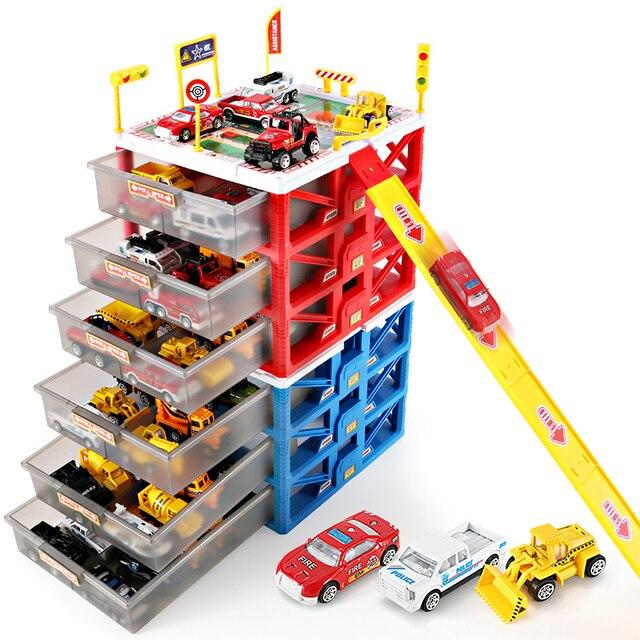 Mini Parking Lot Car Toy Drawer Kids Toys Storage Box Case Model Carport Garage Kid Educational
