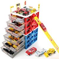 Mini Parking Lot Car Toy Drawer Kids Toys Storage Box Case Car model Car Carport Garage toy Kid Educational Toys