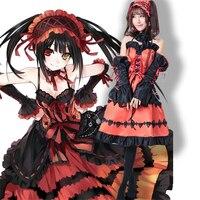 Anime Figures DATE A LIVE Kurumi Nightmare Red Lolita Princess Dress Wigs Uniform Cosplay Costumes Full