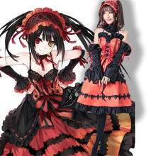 Anime Figures DATE A LIVE Kurumi Nightmare Red Lolita Princess Dress Wigs Uniform Cosplay Costumes Full Set Free Shipping(China)