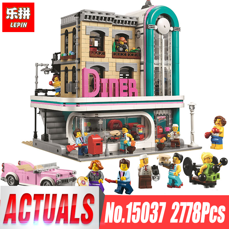 lepin 15037 Streetview Downtown Diner Set Compatible LegoING 10260 Model Building Kits Blocks Toys Bricks Gift for Block Fans lepin 16002 modular pirate ship metal beard s sea cow building block set bricks kits set toys compatible 70810