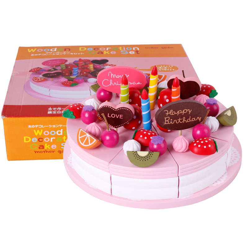 Mother garden baby kid's playhouse strawberry double layers artificial cake <font><b>set</b></font> wooden child <font><b>toy</b></font> image
