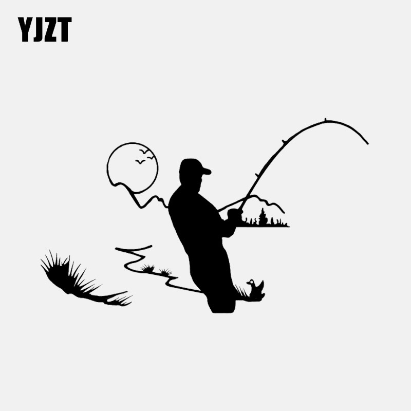 YJZT, 14,9x8,9 CM, pegatina de vinilo decorativa para pesca en exteriores, silueta de coche, C12-1627 gráfico de alta calidad