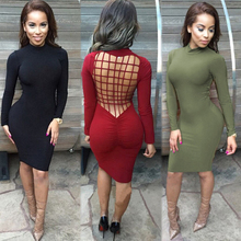 Vestidos Sexy Club Stretch Laced Back Cage Winter Party font b Dresses b font Black font
