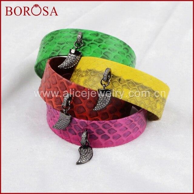 Borosa Multi Color Snakeskin Cuff Bangle Cz Bead Dangle Horn Bracelet Skin Gems