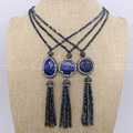 Natural lapis stone necklace with tassel handcrafted  mix shape druzy necklace druzy jewelry  fashion for women 870