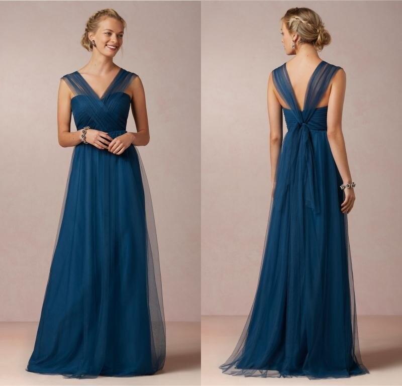3c65f6f49 Elegante azul marino largos Vestidos de Dama de 2016 hermoso cuello en v de  los plisados tulle mujeres vestido formal para la fiesta de boda en Vestidos  de ...