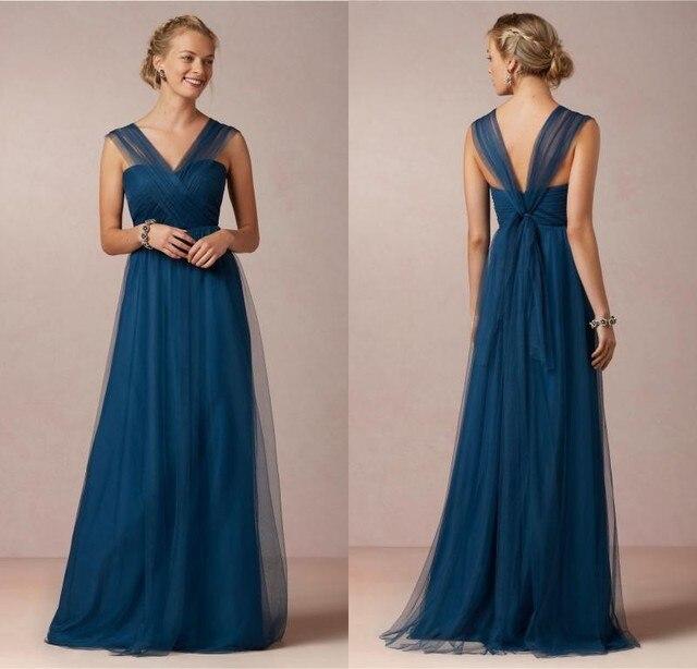 f28aa4532 Elegante azul marino largos Vestidos de Dama de 2016 hermoso cuello en v de  los plisados